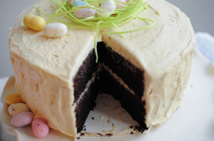 Inside Malted Chocolate Easter Cake